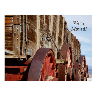 We've Moved, Wooden Wagon New Address Announcement Postcard