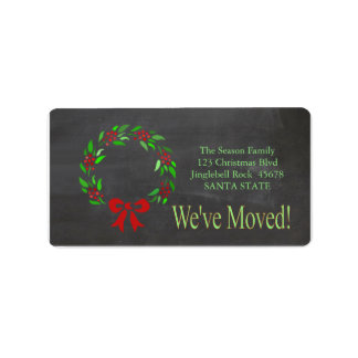 We've Moved x-mas wreath Holiday Label Address Label