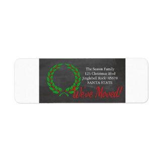 We've Moved x-mas wreath Holiday Label Return Address Label