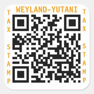 Weyland Yutani Tax Stamp Square Sticker
