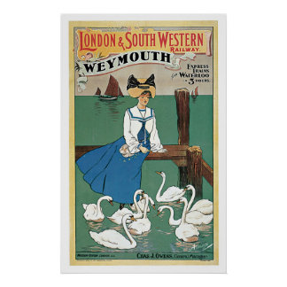 Weymouth England Railway Vintage Travel Poster