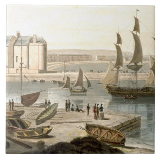 Weymouth Harbour, from 'A Voyage Around Great Brit Ceramic Tile