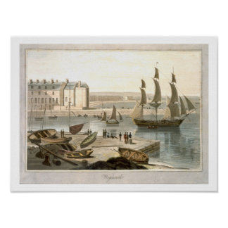 Weymouth Harbour, from 'A Voyage Around Great Brit Poster