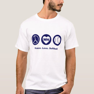 WH Peace Love Softball T-Shirt
