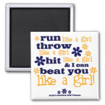 WH Softball Like A Girl 2 Inch Square Magnet