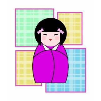 Whack A Doo Pop Art Plaid Kokeshi Doll T-Shirt shirt
