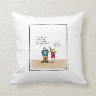 WHACKING STICK cartoon by Ellen Elliott Throw Pillow