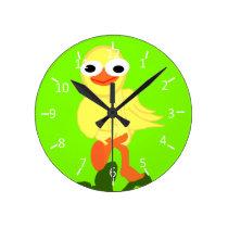 Whacky Bird Chartreuse Round Clock