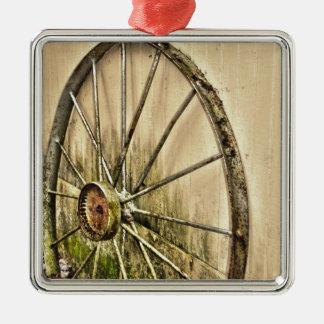 Whagon Wheel Metal Ornament