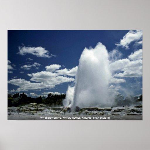 Whakarewarewa, Pohutu geyser, Rotorua, New Zealand Poster