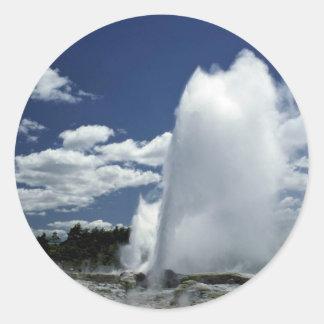 Whakarewarewa, Pohutu geyser, Rotorua, New Zealand Round Sticker