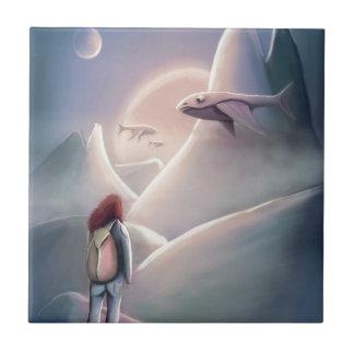Whal Girl hiking on the alien planet of the flying Ceramic Tile