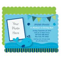 Whale 1st Birthday Card