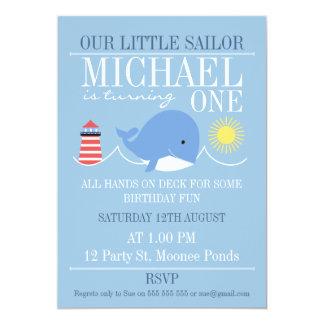 Whale 1st Birthday Invitation