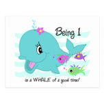 Whale 1st Birthday Postcard