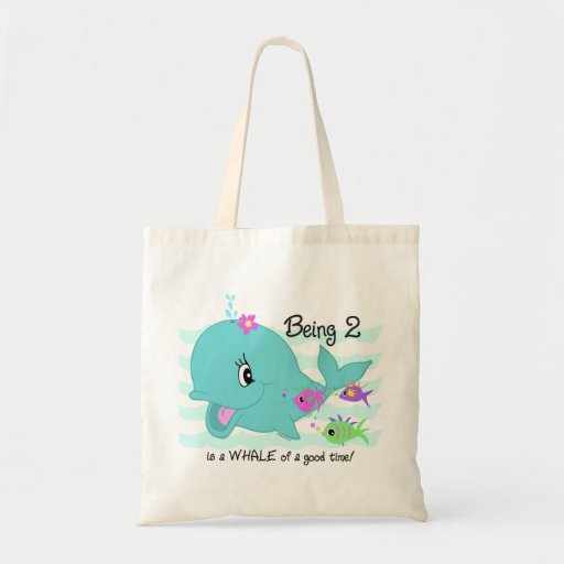 Whale 2nd Birthday Budget Tote Bag
