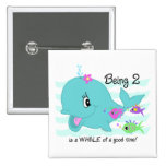 Whale 2nd Birthday Pinback Buttons
