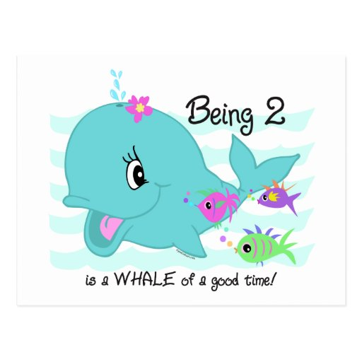 Whale 2nd Birthday Postcards