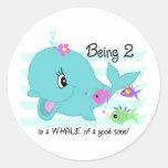 Whale 2nd Birthday Round Sticker
