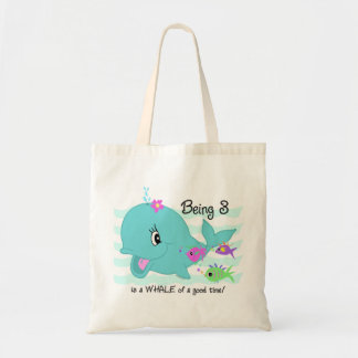 Whale 3rd Birthday Canvas Bags