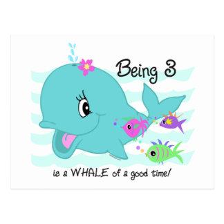 Whale 3rd Birthday Postcard