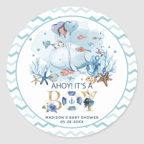 Whale Ahoy Its a Boy Baby Shower Thank You Favor Classic Round Sticker