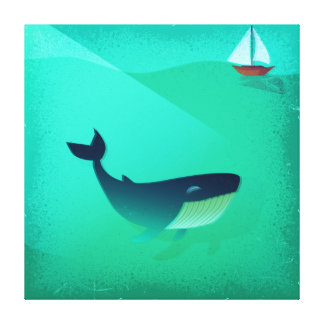 Whale and boat illustration canvas print