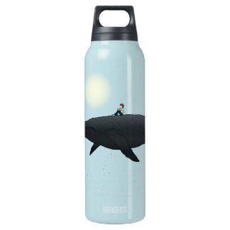 Whale and boy  Title: Midnight Burst Insulated Water Bottle