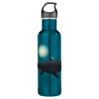 Whale and boy  Title: Midnight Burst Stainless Steel Water Bottle