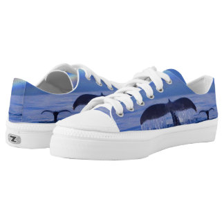 Whale and Calf Flukes Zipz Low Top