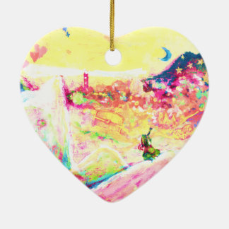 Whale and captain Double-Sided heart ceramic christmas ornament