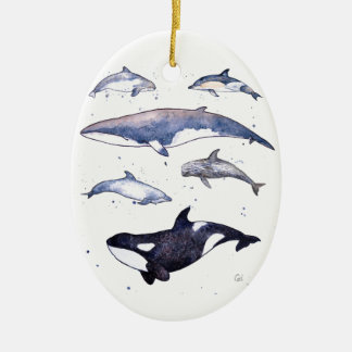 Whale and dolphins of Scotland Ceramic Ornament