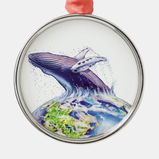 whale and earth design christmas tree ornament