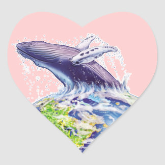 whale and earth design heart sticker