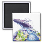 whale and earth design refrigerator magnet