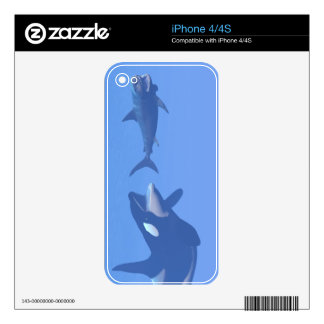 Whale and megalodon underwater - 3D render iPhone 4 Skin