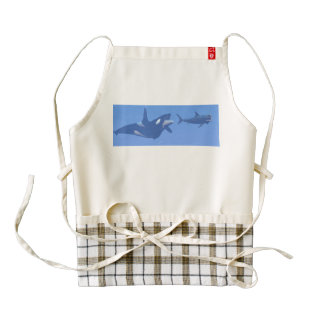 Whale and megalodon underwater - 3D render Zazzle HEART Apron