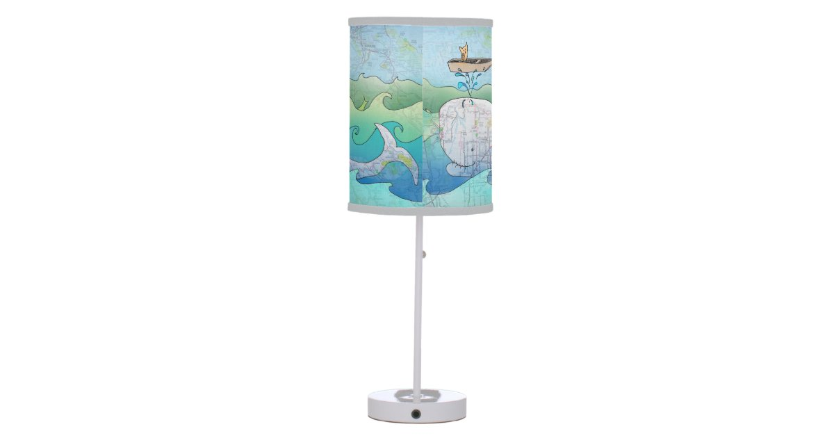 "Whale and Owl ""on a boat"" lamp 