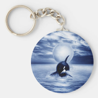 Whale and the moon in 2012 basic round button keychain