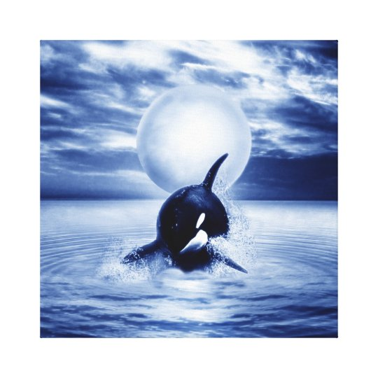 Whale and the moon in 2012 canvas print