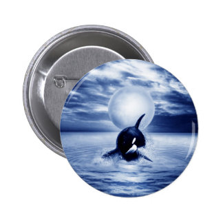 Whale and the moon in 2012 pinback button