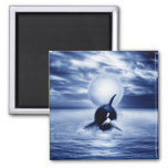 Whale and the moon in 2012 refrigerator magnet