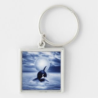 Whale and the moon in 2012 Silver-Colored square keychain