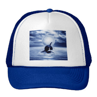 Whale and the moon in 2012 trucker hat