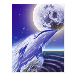 Whale and the moon postcard