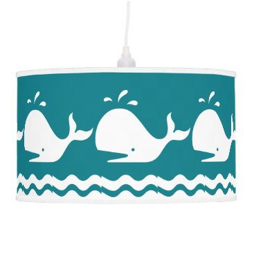 Beach Themed Whale and waves Blue and White Custom Pendant Lamp