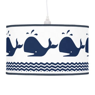 Beach Themed Whale and waves Blue and White Custom Table Lamp