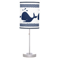 Whale and waves Blue and White Custom Table Lamp