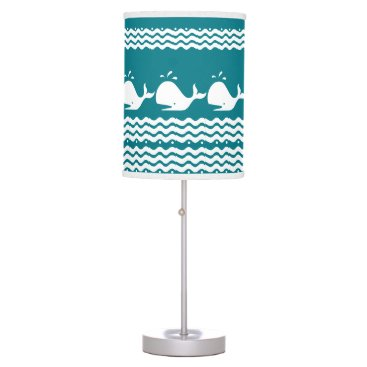 Beach Themed Whale and waves Blue and White Lamp
