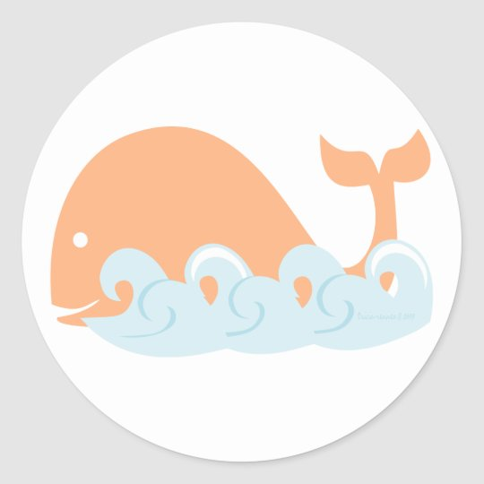 Whale and Waves Classic Round Sticker